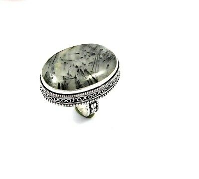 Charming Black Needle Rutile Silver Carving Jewelry Ring Size 8.75 JT2344
