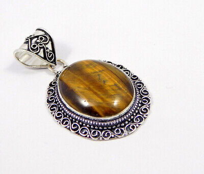 Tiger's Eye .925 Silver Plated Carving Pendant Jewelry JC7404
