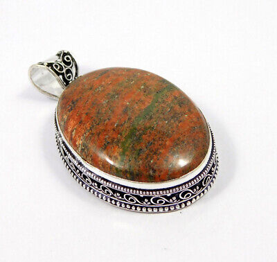 Unakite .925 Silver Plated Carving Pendant Jewelry JC7458