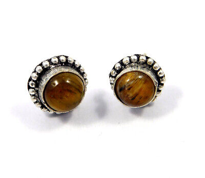 Tiger's Eye .925 Silver Plated Handmade Stud Earring Jewelry JC8200