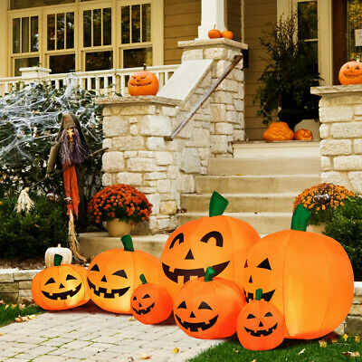 7.5' Halloween Inflatable 7 Pumpkins Patch W/LED Lights Ultra-bright For Night