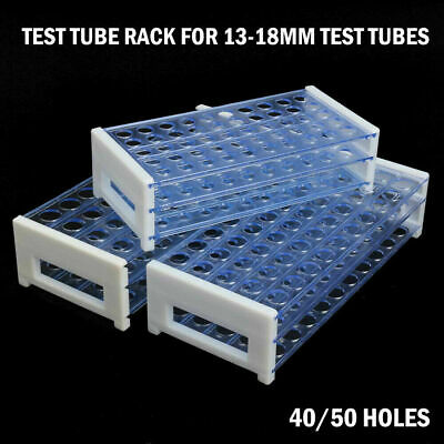 40/50 Holes Test Tube Rack Testing Tubes Holder Storage Plastic Lab Supplies