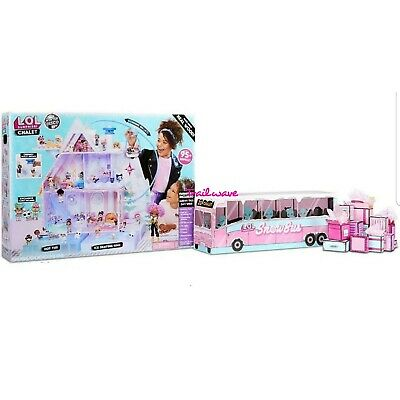 Lol Surprise - Winter Disco Chalet - Wood Doll House & Snow Bus -2019- Preorder