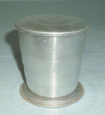 Vintage Aluminum Collapsible Accordian Travel Cup Tumbler w/ Lid