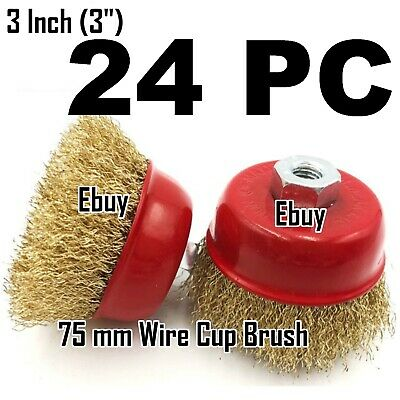 "24 PC 3"" x 5/8"" Arbor FINE Crimped Wire Cup Wheel Brush - For Angle Grinders"