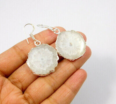 White Solar Agate .925 Silver Plated Handmade Earring Jewelry JC10052