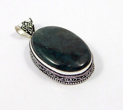 Green Moss Agate .925 Silver Plated Carving Pendant Jewelry JC7474