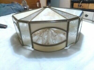 Vtg Stained Glass Lamp Shade Gold Beige White Floral Pressed Flowers 1970's