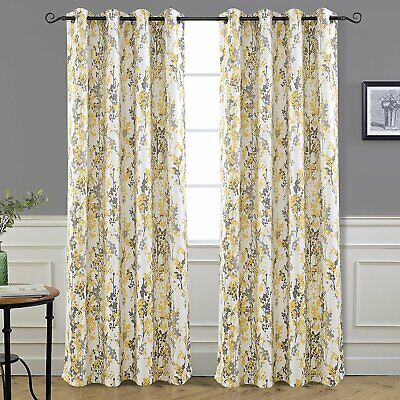 Set 2 Yellow Gray White Spring Fl Curtains Panels D