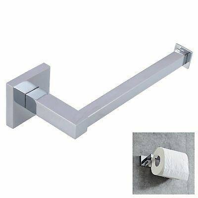 Silver Square Bathroom Toilet Roll Holder Wall Mounted Toilet Roll UKGT
