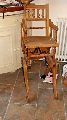 Antique Victorian metamorphic high chair / low chair / For restoration..