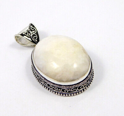 Scolecite .925 Silver Plated Carving Pendant Jewelry JC7438
