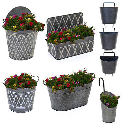 Galvanised Planters Garden Hanging Balcony Wall Mounted Flowers Metal Plant Pots