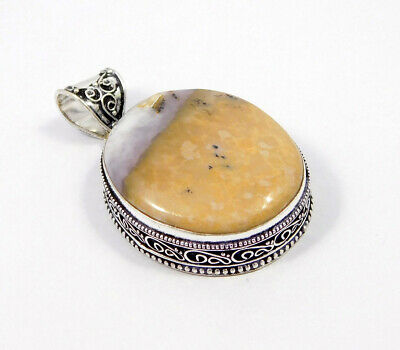 Dendrite Opal .925 Silver Plated Carving Pendant Jewelry JC7496