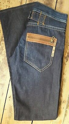 Authentic GAS STYLE Dark Blue Denim Jeans with Zipped Pockets - Size: W27/L33