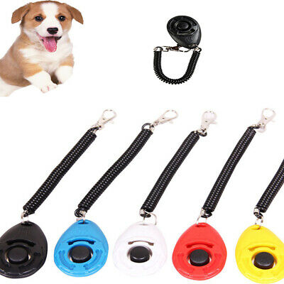 Dog Puppy Button Clicker Sound Keyring Clip Obedience Pet Training Teaching Tool