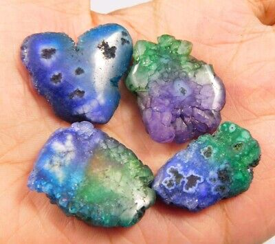 108 Cts. Natural Dyed Multi Solar Druzy Agate Lot Loose Cabochon Gemstone NG6787