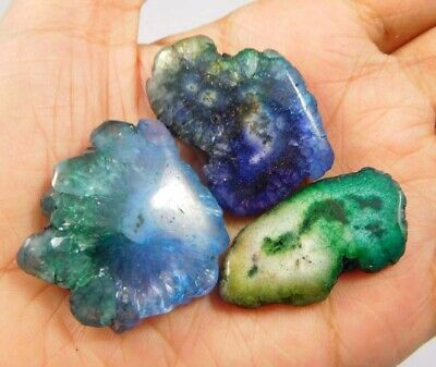 121 Cts. Natural Dyed Multi Solar Druzy Agate Lot Loose Cabochon Gemstone NG6715