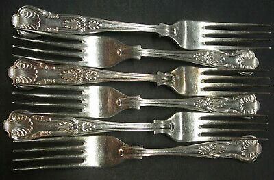 Vintage Set Of 6 Silver Plated Kings Pattern Dinner Forks - Epns A1 Sheffield