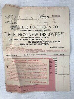 1906 Receipt Dr King's New Discovery Pills Salve Electric Bitters Bucklen P5