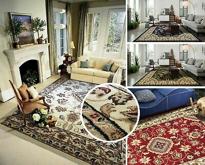 New Small X Large Wool Look Traditional Floral Classic Indiana Hand Carved Rugs