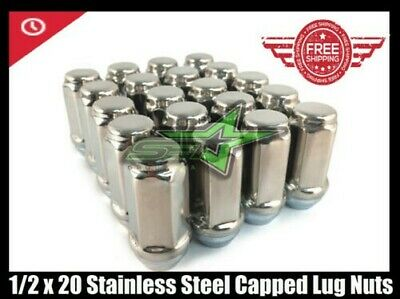 """20 Trailer Stainless Steel Capped Lug Nuts 2.36"""" Tall Bulge Acorn Lugs 1/2""""-20"""