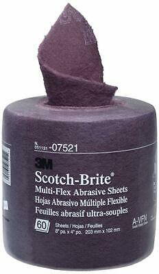 "3M 07521 Scotch-Brite Multi-Flex Abrasive Sheet Roll, 4"" X 8"", 60 Sheets/Roll"