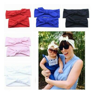 Toddler Mommy and Baby Cotton Rabbit Ear Headwear Turban Headband Knot Hairband
