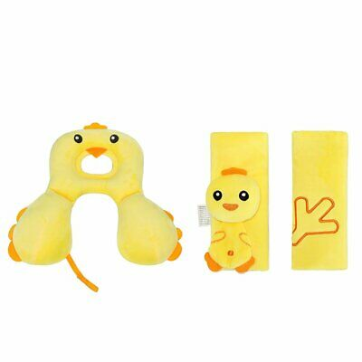 Car Seat Belt Strap Covers and Soft Headrest Neck Support- Cartoon Yellow