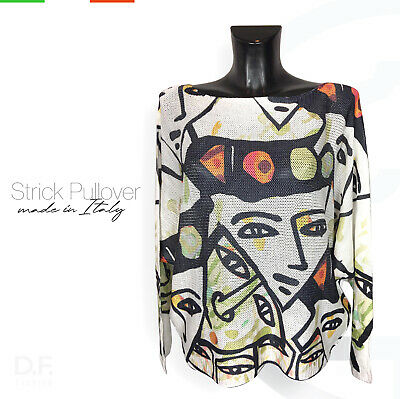 Strick Pullover *Made in Italy /'Amsterdam/' Print Langarm Pulli Uni Gr 38-46