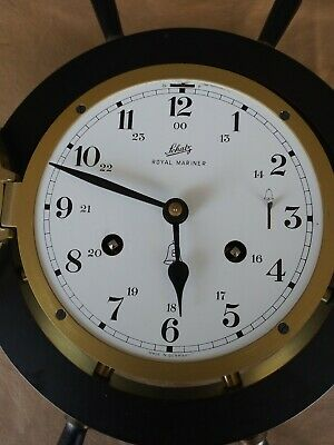 CLOCK 8 DAY Schatz Royal Mariner Ships Bell With Key,Brass Monogram Plates/WORKS