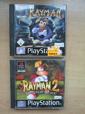 Playstation 1 - 2 FOR 1 - Rayman 1 + 2 - Manual INCLUDED