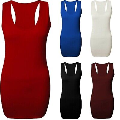 Womens Vest Top Racer Back Bodycon Muscle Gym Ladies yoga Plus Sizes 8-26