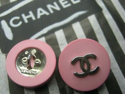 Chanel 1 Vintage Silver Cc Logo Front Pink Resin   Buttons  18 Mm  Stamped Lot 1