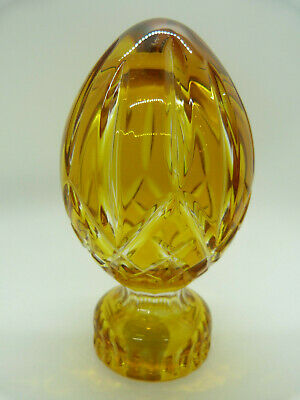 """Waterford Amber Brown Crystal Egg 5"""" Paperweight Art Glass Paper Weight"""