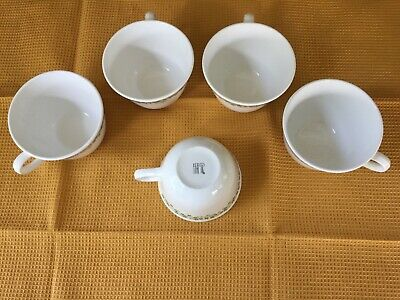 Corelle Spring Blossom Coffee CUPS Set of 5 Green Flowers Corning USA