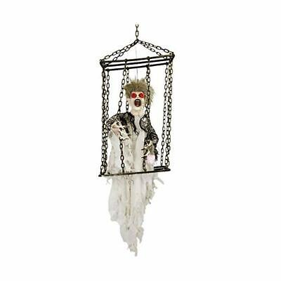 Halloween Haunters Animated Hanging Caged Shaking Ghost Ghoul Prisoner