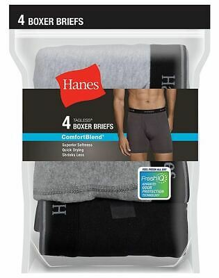 4-Pack Hanes Ultimate FreshIQ Men's Boxer Briefs -Assorted Colors -Sizes 2XL-4XL