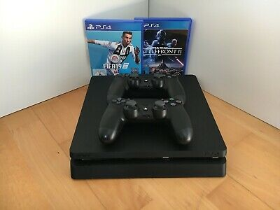 Sony PlayStation 4 Slim 500GB + 2 Controller + Fifa 19 & Batllefront 2 (+OVP)