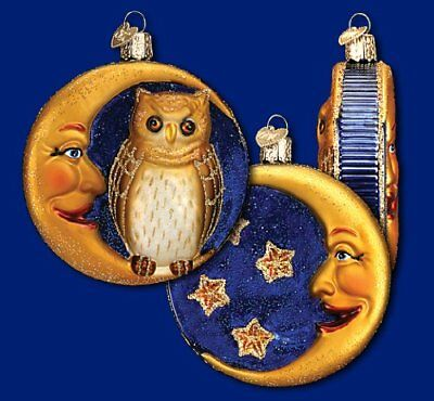 Owl in Crescent Moon Sparkling Halloween Ornament Old World Christmas New In Box