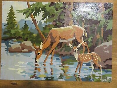Vintage Wildlife Woodland Paint By Number Pbn Deer Fawn Doe Signed Dated 1965
