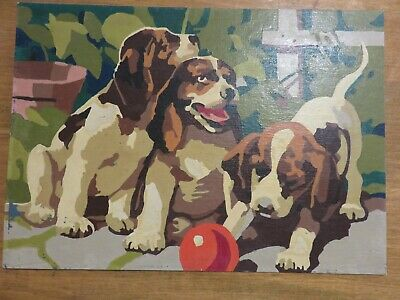 Cute Vintage  Paint By Number Pbn Playing Puppies