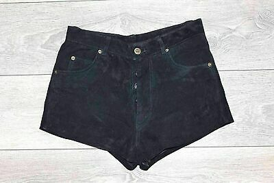 Women's Vintage GIPSY Button Fly High Waist Black 100% Leather Suede Shorts W28