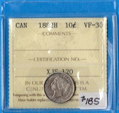 Canada 1882 H 10 Cents Ten Cent Silver Coin - ICCS VF-30