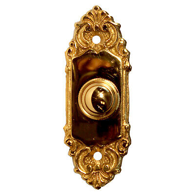 Polished Brass Door Bell Victorian Style Electric Push Call Button Small