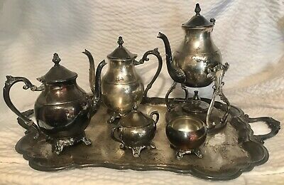 Vtg FB Rogers Silver Plated Co 1883 Full Coffee Tea Set Authentic