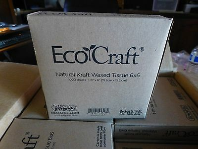 4  Boxes EcoCraft  Natural Kraft  Waxed  Tissue  6 x 6  1000 sheets each box #8
