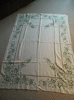 """Vintage Cross Stitched Tablecloth In Shades Of Green And Brown - 65 X 49"""""""