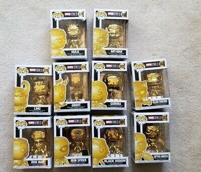 Funko Pop Gold Chrome Marvel Avengers Lot iron man spiderman