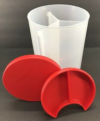 Tupperware 3 in 1 Divided Canister 6 Cup Storage Container Red Seal New